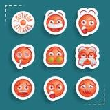 Etiquetas engomadas divertidas del Emoticon Imagen de archivo