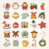 Etiquetas engomadas e iconos de la Navidad stock de ilustración