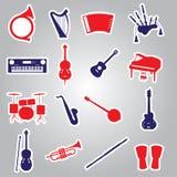 Etiquetas engomadas eps10 de los instrumentos musicales Fotos de archivo libres de regalías