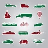Etiquetas engomadas eps10 del icono del medio de transporte Imagen de archivo libre de regalías