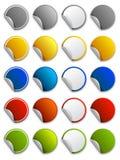 Etiquetas engomadas, escrituras de la etiqueta e iconos del Web - redondos Fotografía de archivo