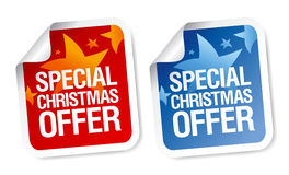 Etiquetas engomadas especiales de la oferta de la Navidad. Fotografía de archivo