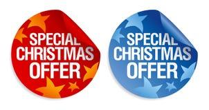 Etiquetas engomadas especiales de la oferta de la Navidad. Foto de archivo libre de regalías