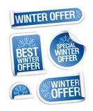 Etiquetas engomadas especiales de la oferta del invierno. Fotografía de archivo libre de regalías