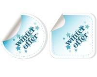 Etiquetas engomadas especiales del vector de la oferta del invierno Foto de archivo