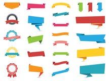 Etiquetas engomadas, etiquetas, banderas y etiquetas del web stock de ilustración