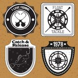 Etiquetas engomadas, etiquetas en el tema del vector de la pesca Fotos de archivo libres de regalías