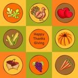 Etiquetas engomadas, etiquetas o etiquetas de la celebración del día de la acción de gracias Imagen de archivo libre de regalías