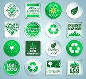 Etiquetas engomadas, etiquetas y botones de Eco Fotos de archivo