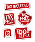 Etiquetas engomadas exentas de impuestos de las compras. Fotos de archivo