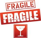Etiquetas engomadas frágiles de la precaución del vector Imágenes de archivo libres de regalías