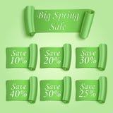 Etiquetas engomadas grandes de la venta de la primavera fijadas stock de ilustración