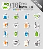 Etiquetas engomadas - iconos de la bebida Fotos de archivo libres de regalías