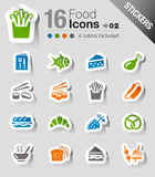 Etiquetas engomadas - iconos de la comida Imagen de archivo