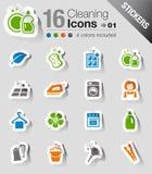 Etiquetas engomadas - iconos de la limpieza Foto de archivo