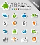 Etiquetas engomadas - iconos de las finanzas Foto de archivo libre de regalías