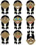 Etiquetas engomadas indias de Emoji del Emoticon de la muchacha imágenes de archivo libres de regalías