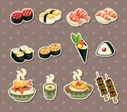 Etiquetas engomadas japonesas del alimento Imagen de archivo libre de regalías