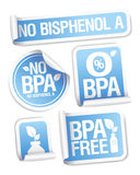 Etiquetas engomadas libres de los productos de Bisphenol A. Fotos de archivo libres de regalías