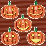 Etiquetas engomadas lindas de las historietas de la calabaza de Halloween fijadas Imagen de archivo