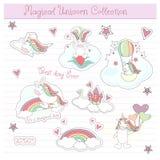 Etiquetas engomadas lindas del unicornio fijadas en vector Fotografía de archivo libre de regalías