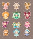 Etiquetas engomadas lindas del zodiaco ilustración del vector