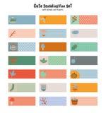 Etiquetas engomadas lindas para el calendario o los planificadores Imágenes de archivo libres de regalías