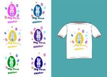 Etiquetas engomadas lindas poco conejo con mi primera Pascua Seis opciones del color Ejemplo del vector con el conejito y los hue ilustración del vector