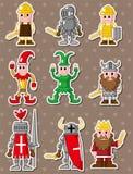 Etiquetas engomadas medievales de la gente de la historieta Fotografía de archivo