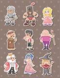 Etiquetas engomadas medievales de la gente de la historieta Imagen de archivo libre de regalías