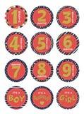 Etiquetas engomadas mensuales del vientre del embarazo con los elementos del brillo para la foto y la diversión Modelos infantile Ilustración del Vector