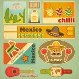 Etiquetas engomadas mexicanas stock de ilustración