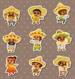 Etiquetas engomadas mexicanas de la gente Imagen de archivo