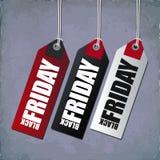 Etiquetas engomadas negras del precio de viernes Etiquetas de las compras Imagen de archivo