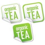 Etiquetas engomadas orgánicas del té Fotografía de archivo libre de regalías