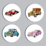 Etiquetas engomadas ovales de los coches retros del vintage fijadas Imágenes de archivo libres de regalías