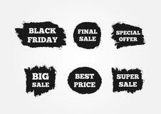 Etiquetas engomadas para atraer a clientes Venta final grande estupenda, Black Friday, el mejor precio, oferta especial Pintado c Fotografía de archivo libre de regalías