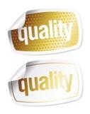 Etiquetas engomadas para los productos de calidad Imagen de archivo