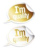Etiquetas engomadas para los productos de calidad Fotografía de archivo