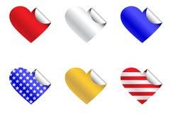 Etiquetas engomadas patrióticas del corazón Fotos de archivo libres de regalías