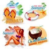Etiquetas engomadas por vacaciones de verano felices Foto de archivo libre de regalías