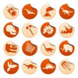 Etiquetas engomadas prehistóricas Ilustración del Vector