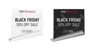 Etiquetas engomadas realistas del papel cuadrado para Black Friday fotos de archivo