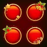 Etiquetas engomadas redondas de la venta de la Navidad con los elementos tradicionales del invierno Imagen de archivo libre de regalías