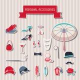 Etiquetas engomadas retras de los accesorios personales del estilo de los años 20 Imagen de archivo libre de regalías