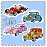 Etiquetas engomadas retras de los coches del vintage fijadas Imagenes de archivo