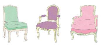 Etiquetas engomadas rococóes antiguas de las sillas Imagen de archivo libre de regalías