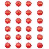 Etiquetas engomadas rojas Imagen de archivo