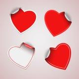 Etiquetas engomadas rojas del corazón de la tarjeta del día de San Valentín Foto de archivo libre de regalías