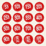 Etiquetas engomadas rojas del descuento Imagen de archivo libre de regalías